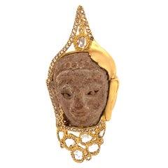 Large Terracotta Buddha Head Pendant with 2.25 Carat Diamonds