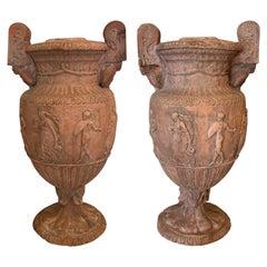 Pair Terra cotta Classical Urns