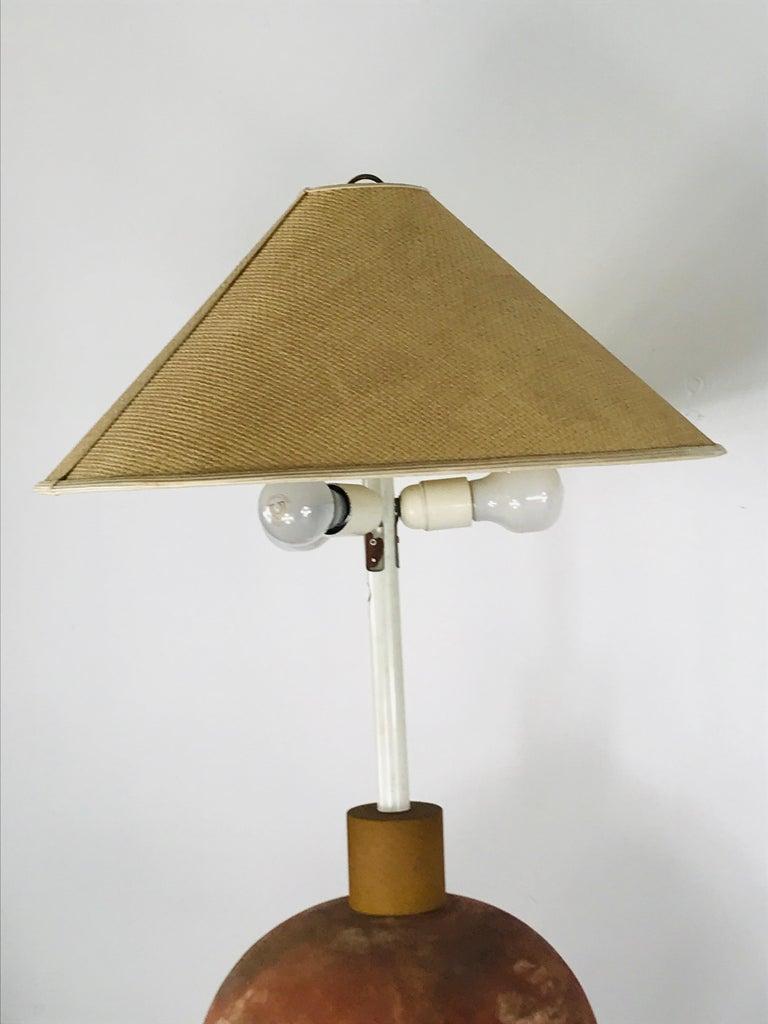 Società Porcellane Artistiche midcentury spherical terracotta Italian floor lamp For Sale 4