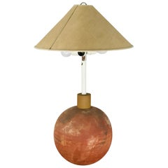 Società Porcellane Artistiche midcentury spherical terracotta Italian floor lamp