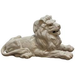 Large Terracotta Lion White Glaze