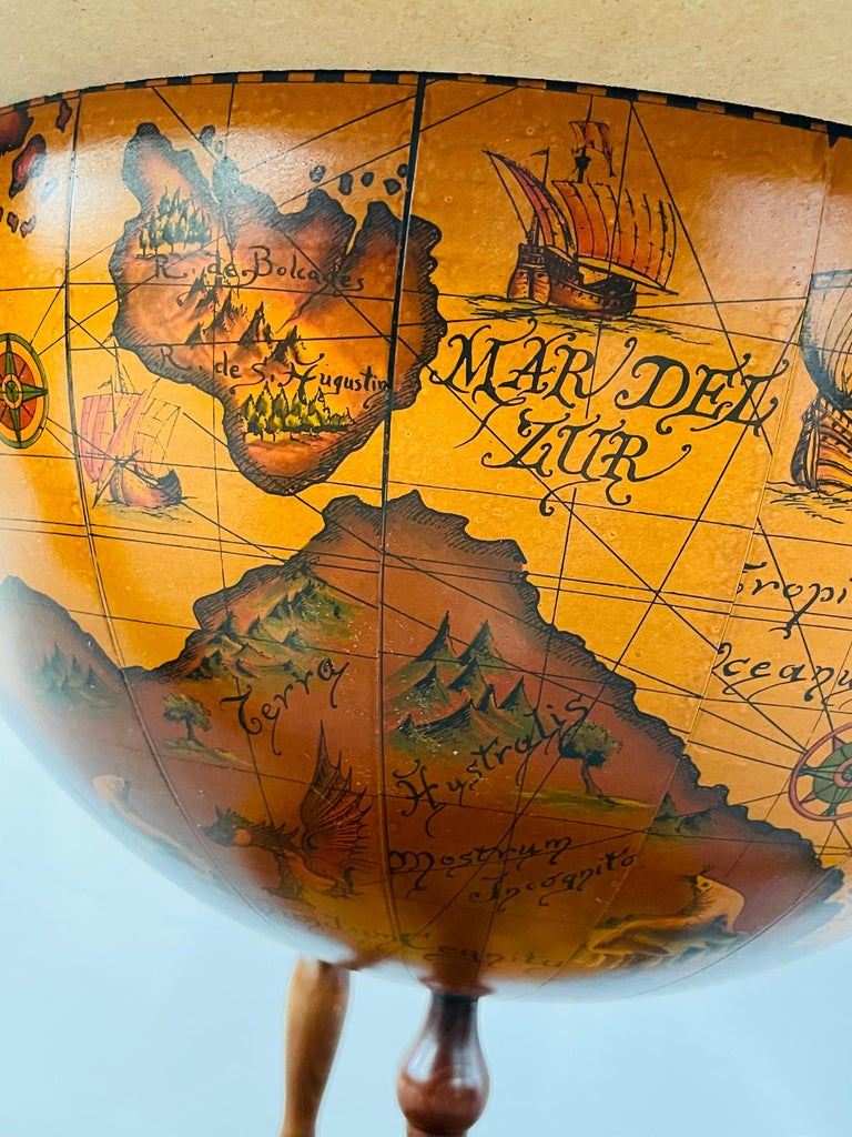 Large Terrestrial and Celestial Globe with Astrological Signs, Circa 1970 For Sale 9