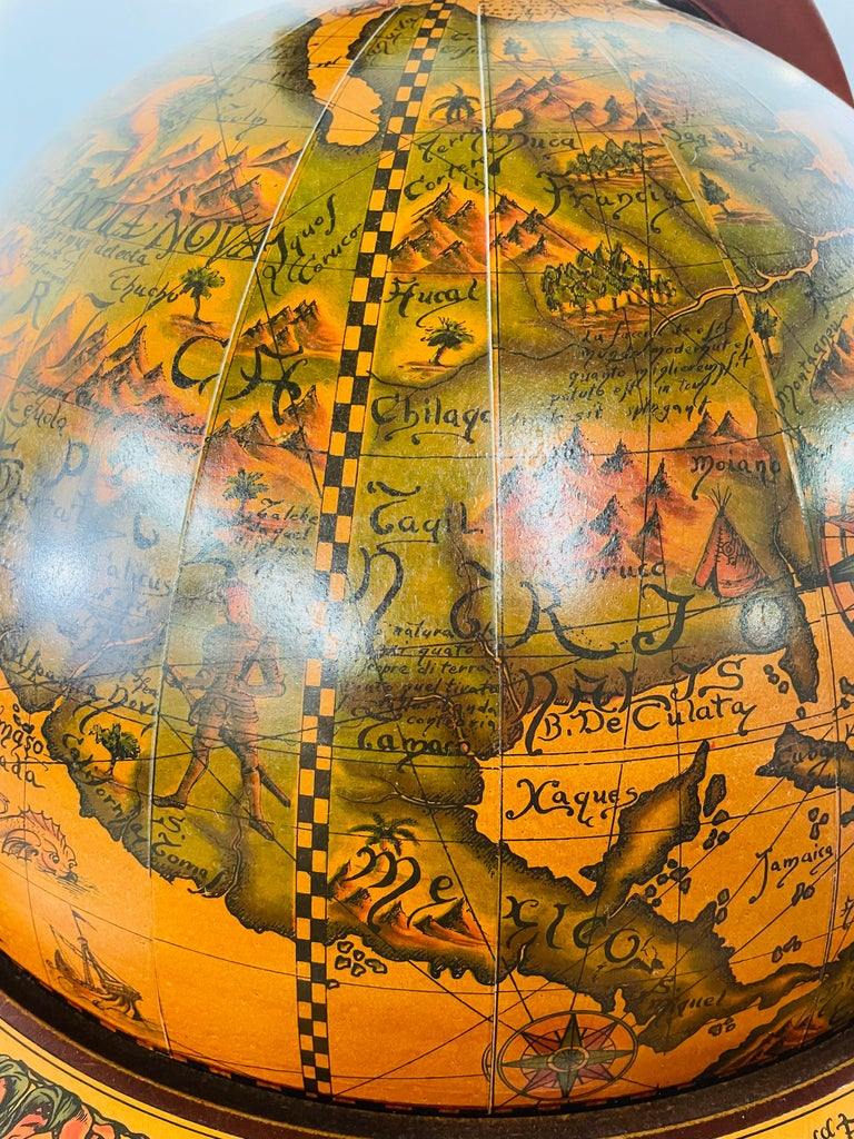 20th Century Large Terrestrial and Celestial Globe with Astrological Signs, Circa 1970 For Sale