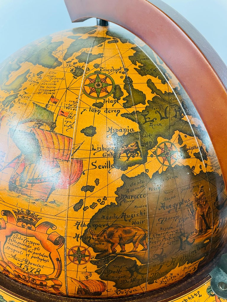 Mahogany Large Terrestrial and Celestial Globe with Astrological Signs, Circa 1970 For Sale
