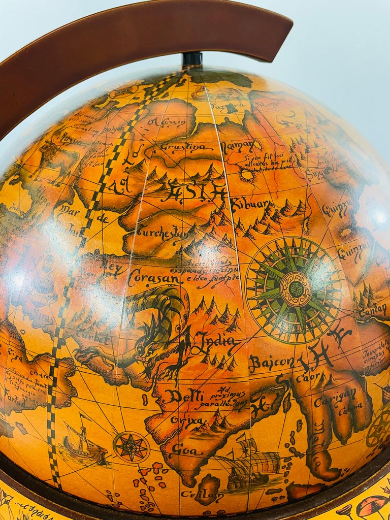 Large Terrestrial and Celestial Globe with Astrological Signs, Circa 1970 For Sale 1