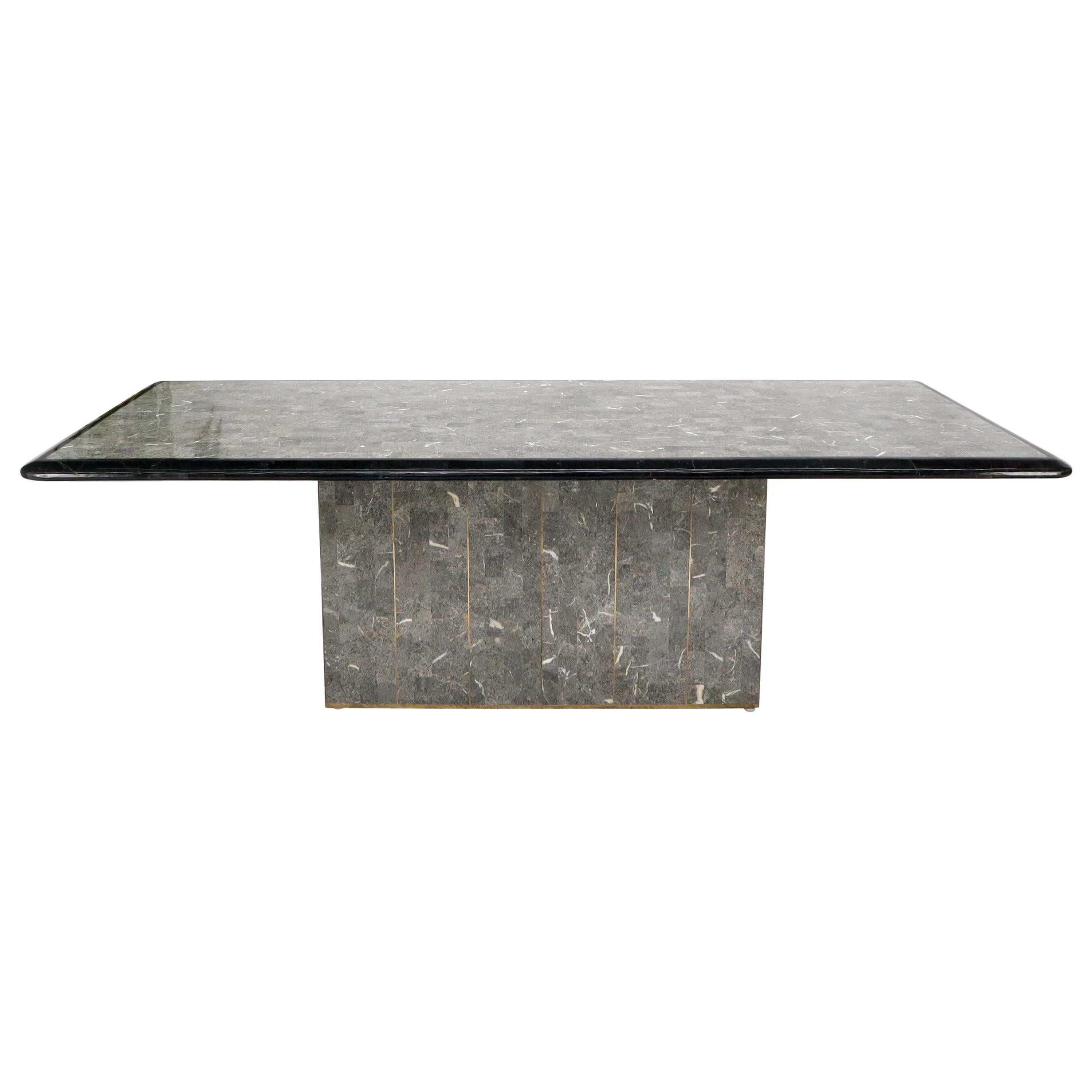 Large Tessellated Black & Grey Stone Brass Inlay Dining Table