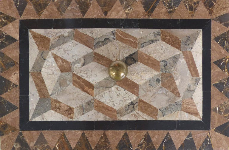 Large Tessellated Stone, Marble and Brass Lidded Box from Maitland-Smith For Sale 3
