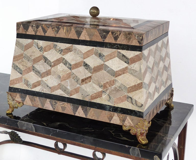 Large Tessellated Stone, Marble and Brass Lidded Box from Maitland-Smith For Sale 4