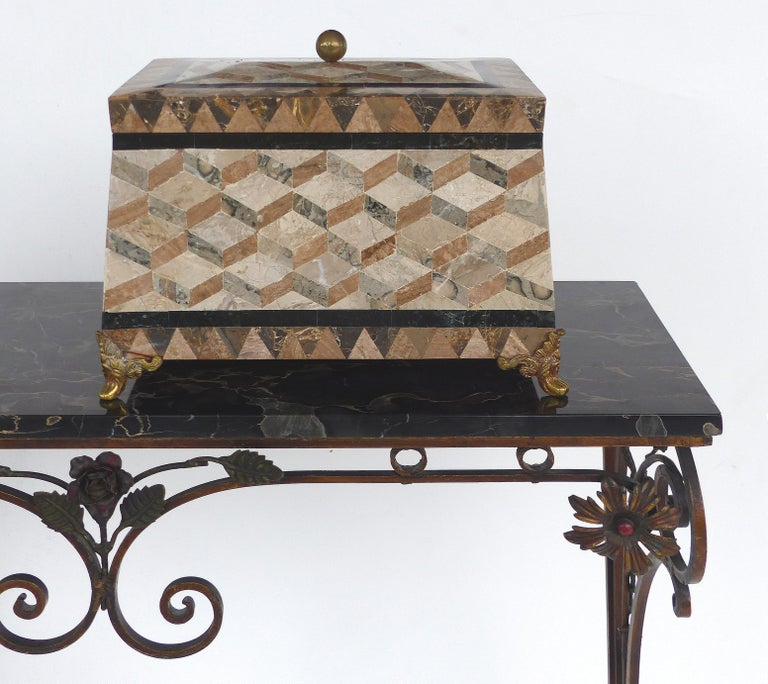 Regency Revival Large Tessellated Stone, Marble and Brass Lidded Box from Maitland-Smith For Sale