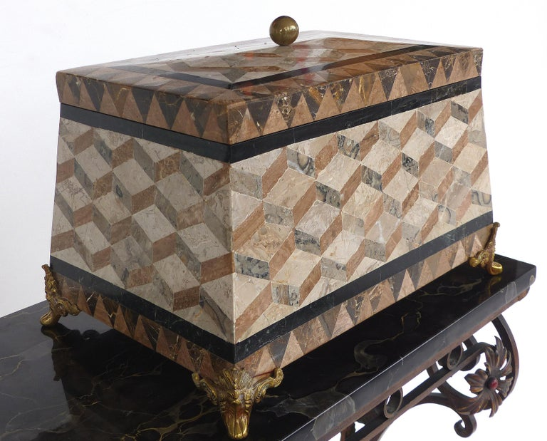 Philippine Large Tessellated Stone, Marble and Brass Lidded Box from Maitland-Smith For Sale