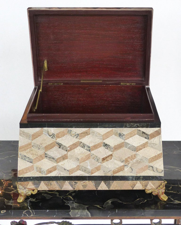 Inlay Large Tessellated Stone, Marble and Brass Lidded Box from Maitland-Smith For Sale