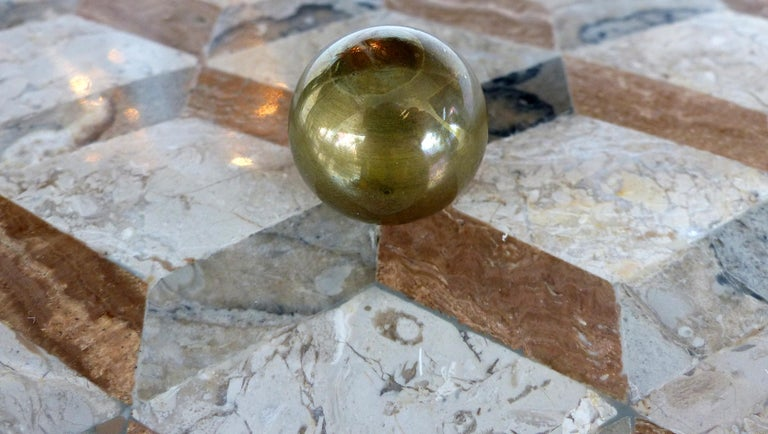 Late 20th Century Large Tessellated Stone, Marble and Brass Lidded Box from Maitland-Smith For Sale