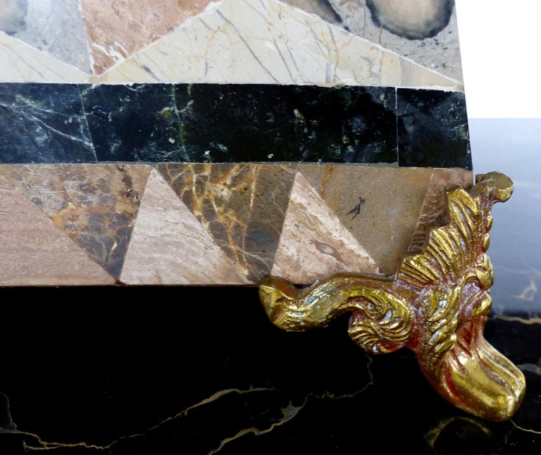 Large Tessellated Stone, Marble and Brass Lidded Box from Maitland-Smith For Sale 1
