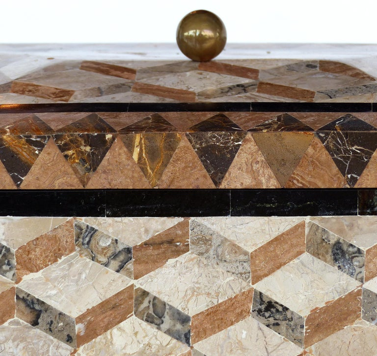 Large Tessellated Stone, Marble and Brass Lidded Box from Maitland-Smith For Sale 2