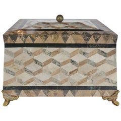 Large Tessellated Stone, Marble and Brass Lidded Box from Maitland-Smith
