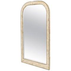 Large Tessellated Stone Veneer Brass Inlay Wall Mirror