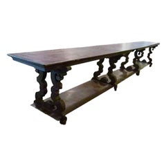 Large Textile 19th Century Store Counter in Solid Wood