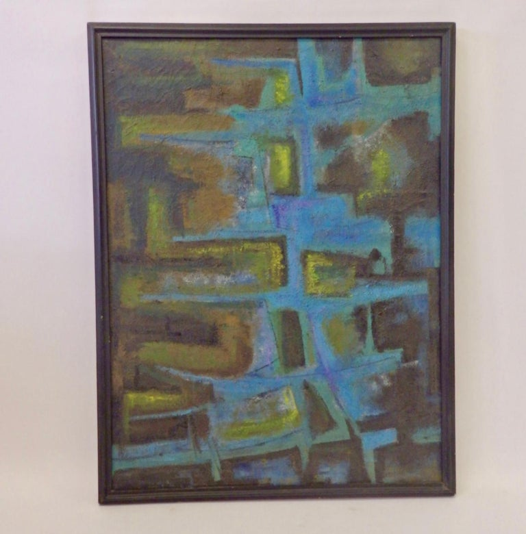 Hand-Painted Large Textured Abstract Oil Painting by Robert Berger For Sale