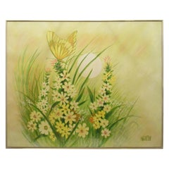 Large Textured Butterfly Painting