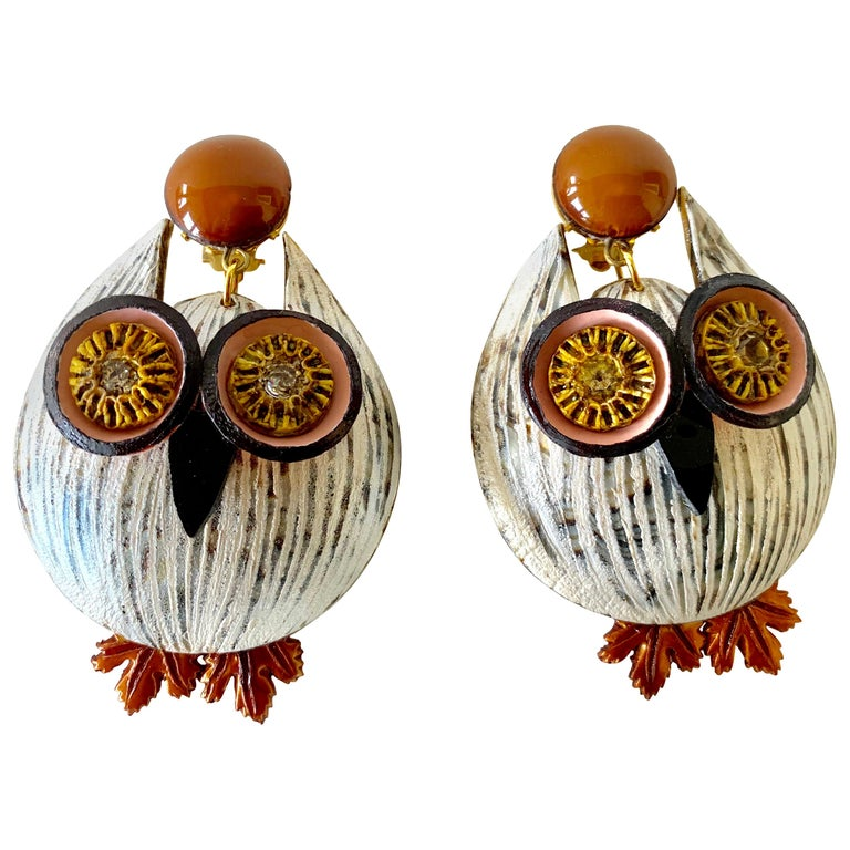 Large Textured Designer Owl Statement Clip-on Earrings  For Sale