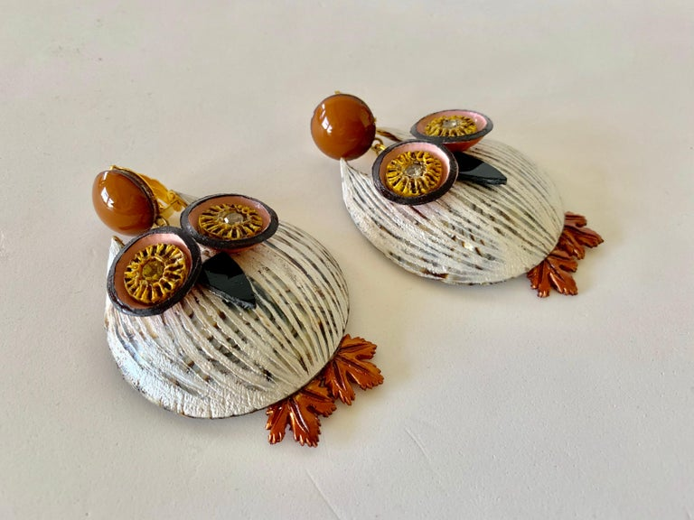 Large Textured Designer Owl Statement Clip-on Earrings  For Sale 6