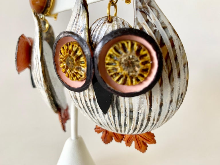 Large Textured Designer Owl Statement Clip-on Earrings  For Sale 7