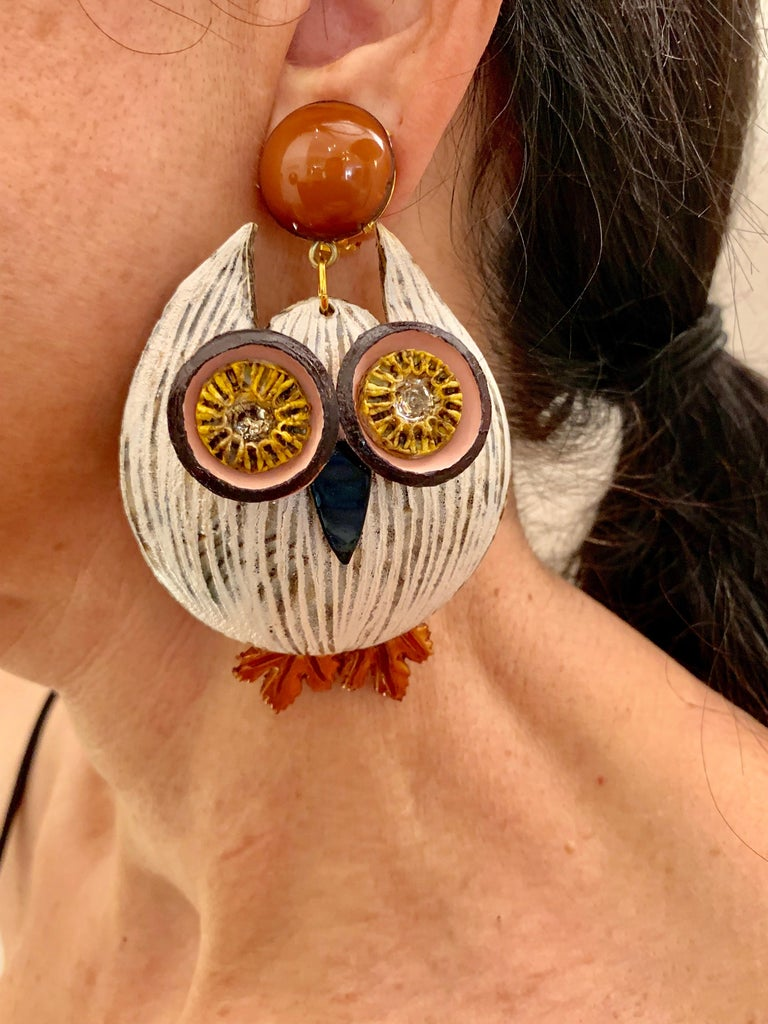 Large Textured Designer Owl Statement Clip-on Earrings  For Sale 1