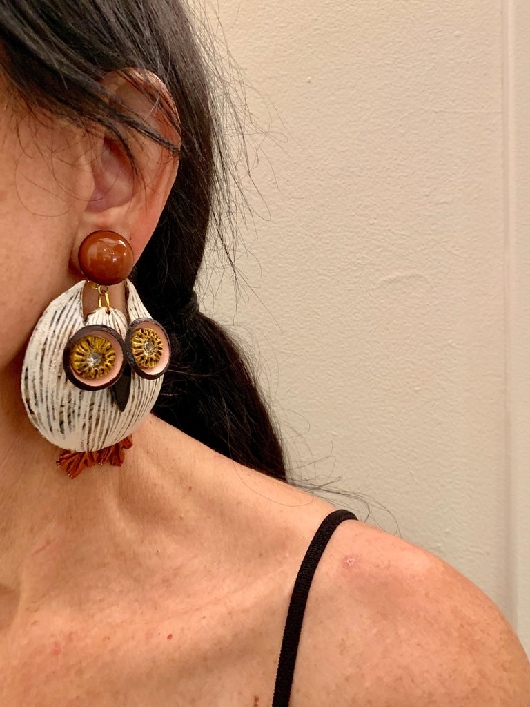 Large Textured Designer Owl Statement Clip-on Earrings  For Sale 2