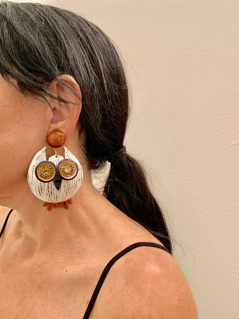 Large Textured Designer Owl Statement Clip-on Earrings  For Sale 3