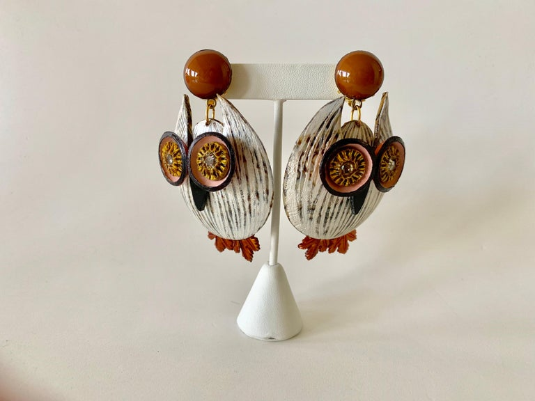Large Textured Designer Owl Statement Clip-on Earrings  For Sale 4