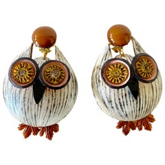Large Textured Designer Owl Statement Earrings