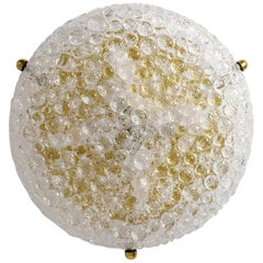 Large Textured Glass and Brass Flush Mount, 1970s