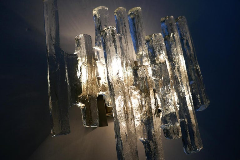 Austrian Large Textured Ice Glass Wall Light Sconce by Kalmar, Austria, 1960s For Sale