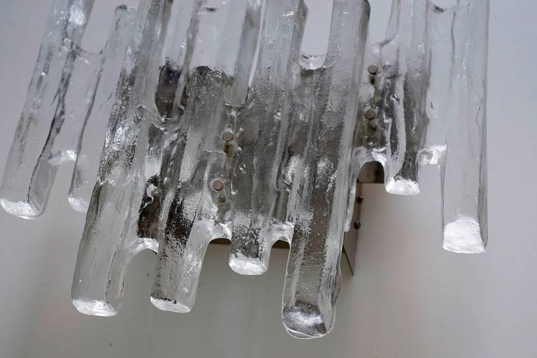 Mid-Century Modern Large Textured Ice Glass Wall Light Sconce by Kalmar, Austria, 1960s For Sale
