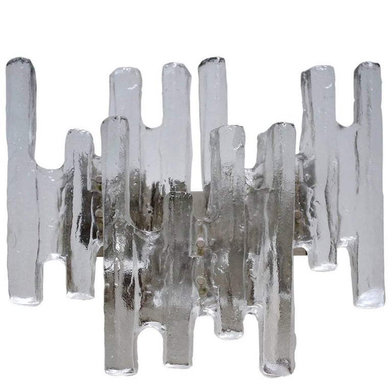 Large Textured Ice Glass Wall Light Sconce by Kalmar, Austria, 1960s
