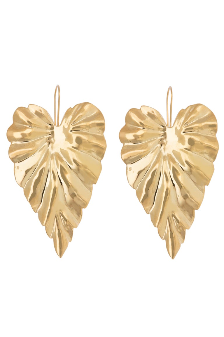 Large Textured Leaf Hoja Post Earrings are Brass with 14k Gold Plating. Drops 3