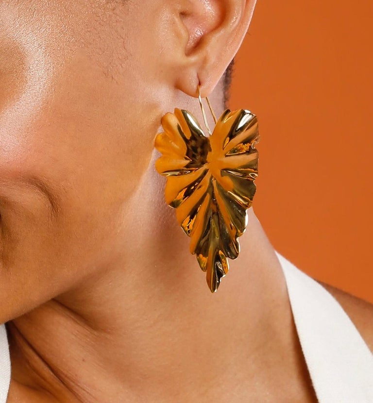Contemporary Jam+Rico Large Textured Leaf Hoja Post Earrings  For Sale