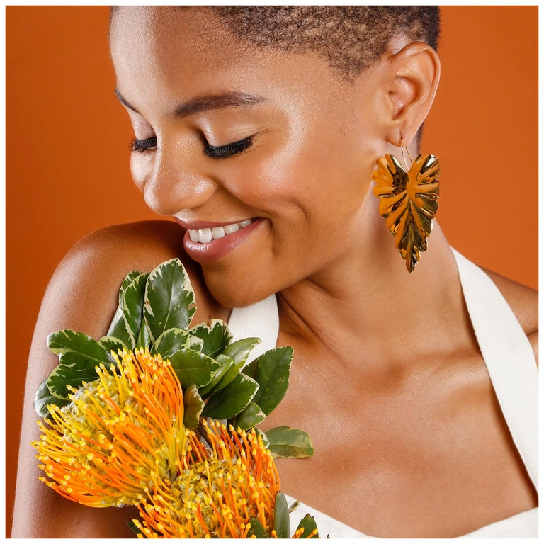 Jam+Rico Large Textured Leaf Hoja Post Earrings  For Sale
