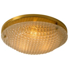 Large Textured Murano Flush Mount / Wall Light by Hillebrand