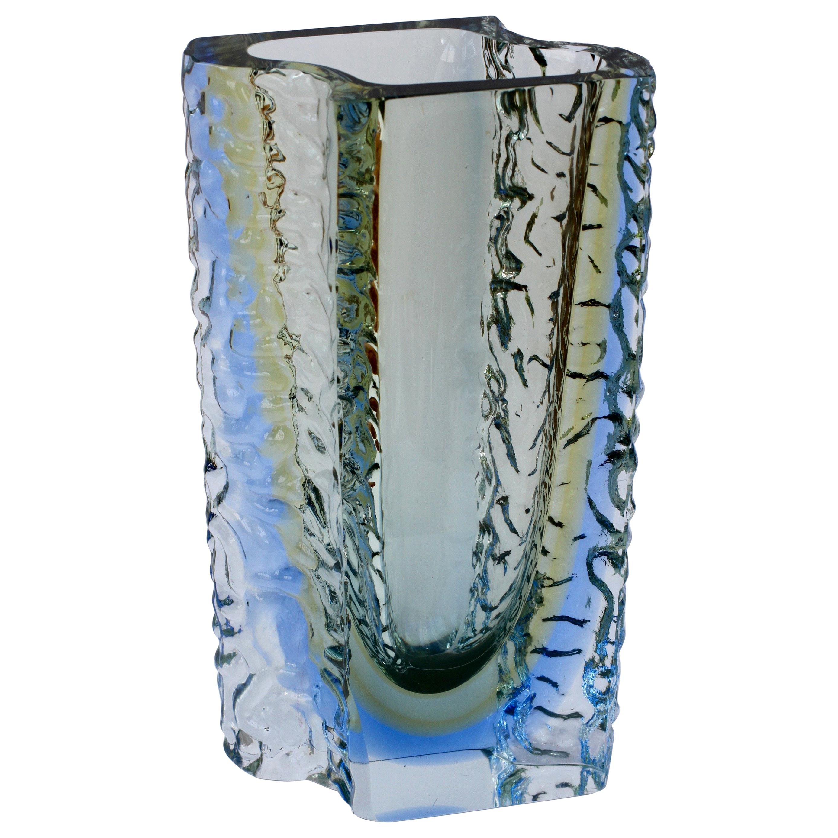 Large Textured Murano 'Sommerso' Blue Ice Glass Vase Attributed to Mandruzzato