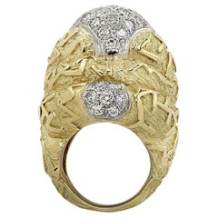 Large Textured Yellow Gold and Diamond Dome Ring