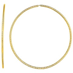 Large Textured Yellow Gold Hoop Earrings