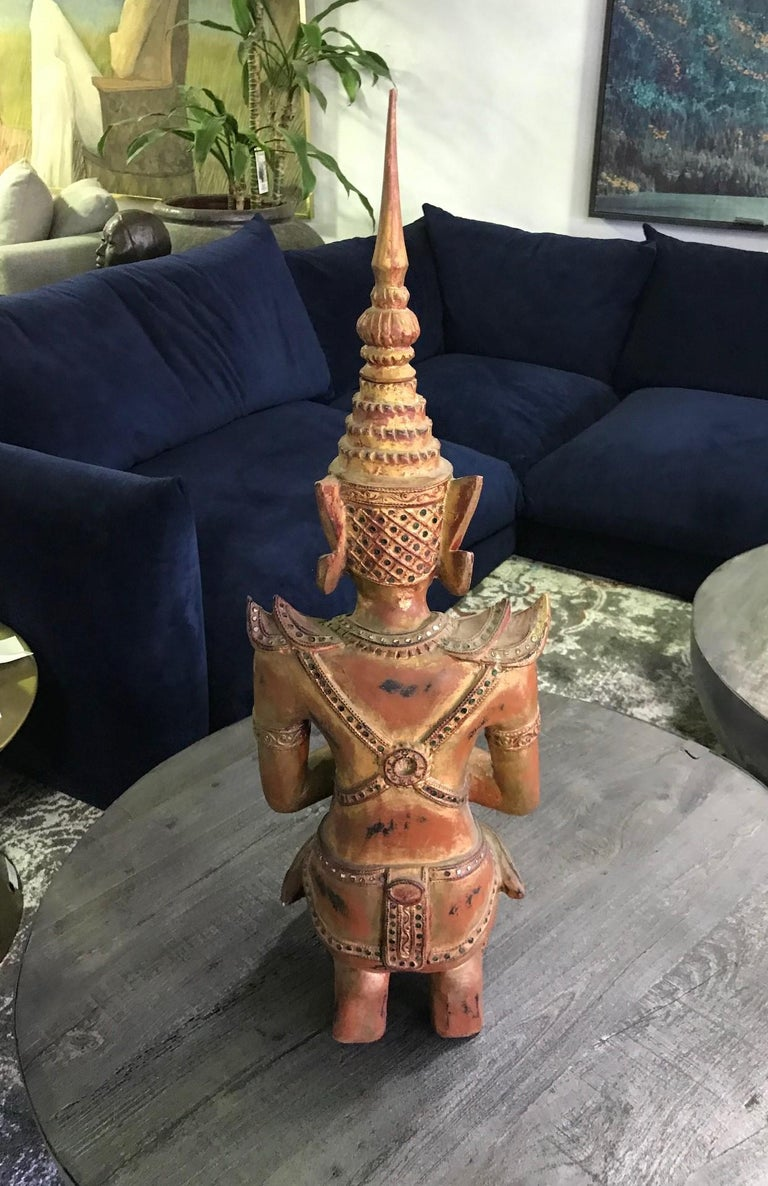 Large Thai Asian Carved Wood Gilt Lacquer Kneeling Praying Temple Shrine Figure For Sale 7