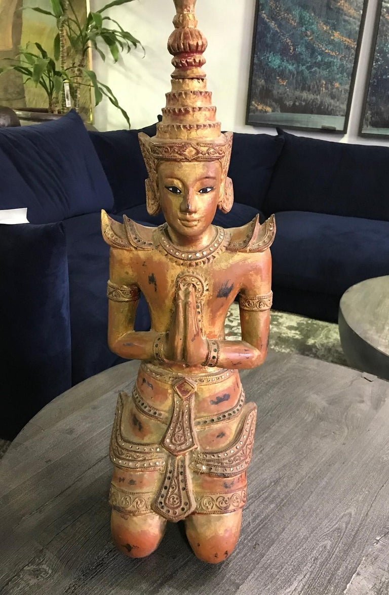 Hand-Carved Large Thai Asian Carved Wood Gilt Lacquer Kneeling Praying Temple Shrine Figure For Sale