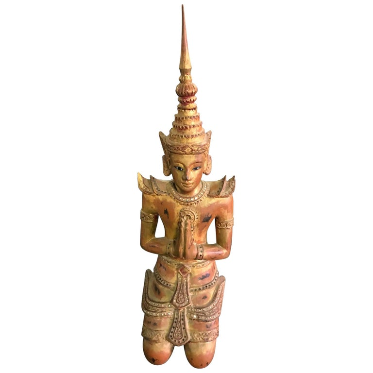 Large Thai Asian Carved Wood Gilt Lacquer Kneeling Praying Temple Shrine Figure For Sale