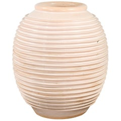 Large Thai Cream Toned Vase with Graduated Lines Décor and Light Pink Undertone