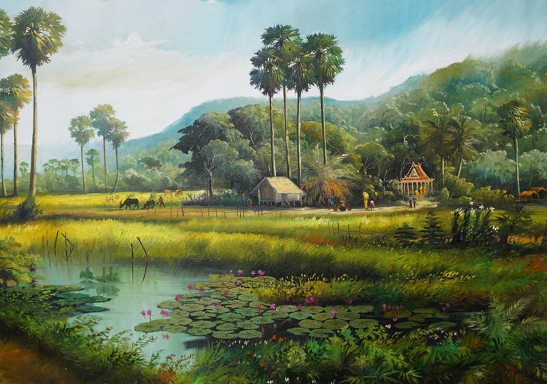 Set deep in the heart of the Asian countryside, this scene is reminiscent of the long-standing Oriental villages that existed in synchronicity with nature. The brilliant shades of brown and green evoke feelings of being at one with the Earth. Place