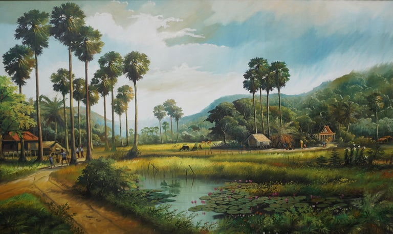 Romantic Large Thai Village and Landscape Painting by Cheat Sakda For Sale