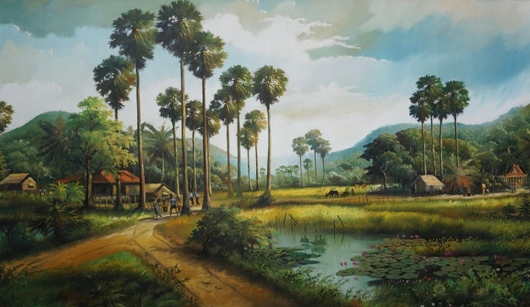 Hand-Painted Large Thai Village and Landscape Painting by Cheat Sakda For Sale