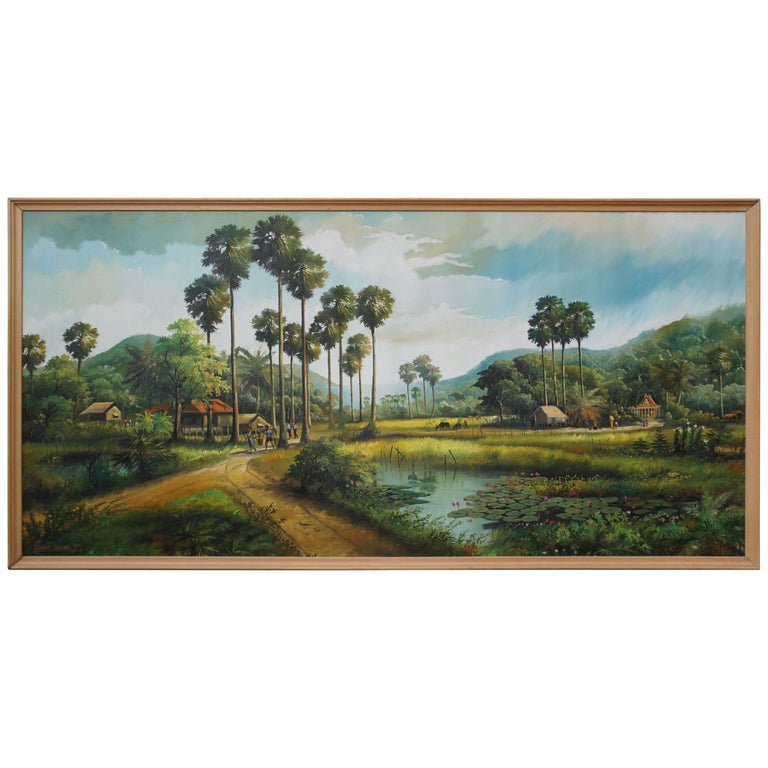 Large Thai Village and Landscape Painting by Cheat Sakda For Sale